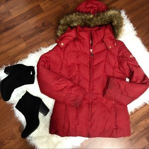 GUESS Red Puffer Coat with Fur Hood